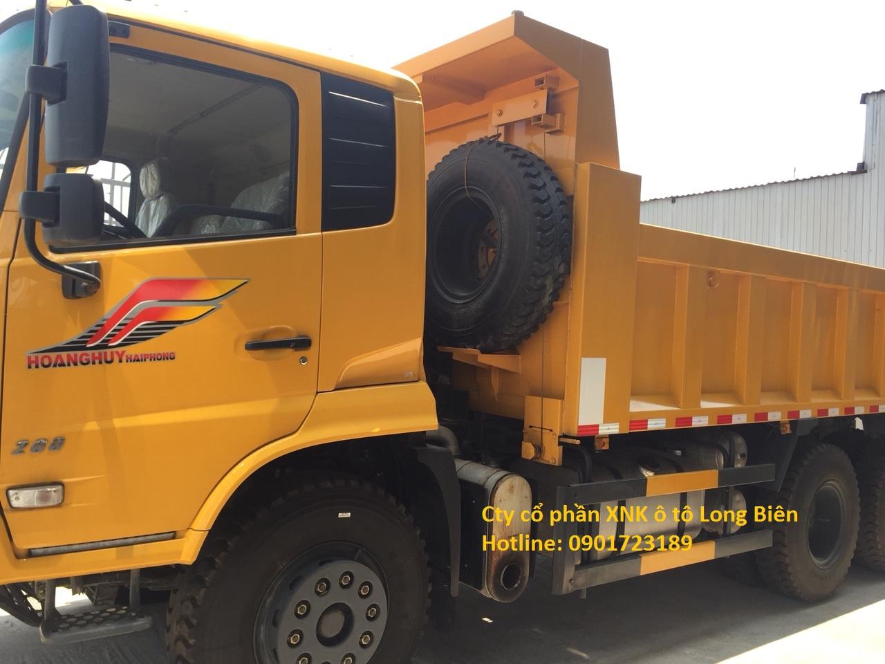Xe ben Dongfeng 3 chân mở bửng sườn tải 13,3t tấn